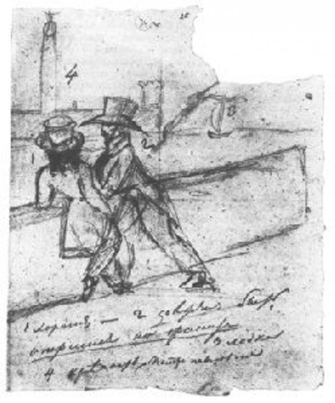 Pushkin's drawing of himself with Onegin